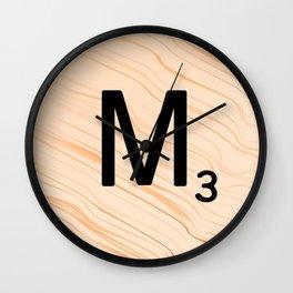 Scrabble Letter M - Large Scrabble Tiles Wall Clock