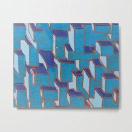 Screen Printed Cubes Metal Print