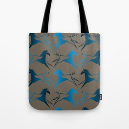 Blue Brown War Horse Tote Bag