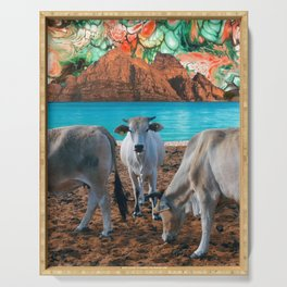 surreal cow pasture Serving Tray