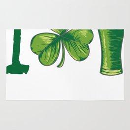 I Love Beer St. Patrick's Day Shamrocks Funny Rug