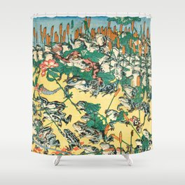 Fashionable Battle of Frogs by Kawanabe Kyosai, 1864 Shower Curtain