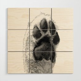 Black and White Dog Paw Wood Wall Art
