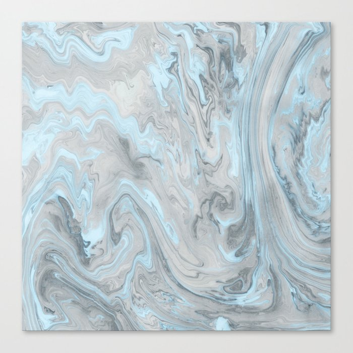 Ice Blue and Gray Marble Leinwanddruck