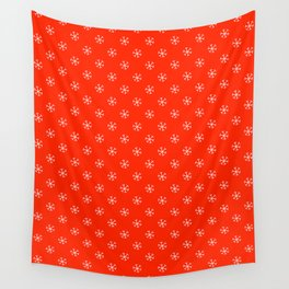 White on Scarlet Red Snowflakes Wall Tapestry