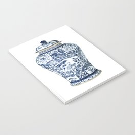 Blue & White Chinoiserie Cranes Porcelain Ginger Jar Notebook