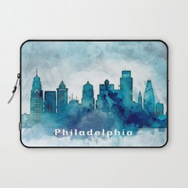Blue Watercolor Dallas skyline design Laptop Sleeve