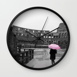 Colosseum rainy day Wall Clock