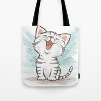 cat coquillette Tote Bags featuring Cat by Toru Sanogawa