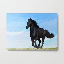 Running Black Horse Equestrian Painting Metal Print