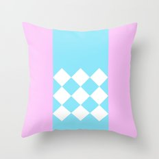 Pink and Blue Checkered Throw Pillow