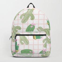 Pastel pink florest green geometrical cactus floral Backpack