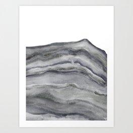 Watercolor Agate in Gray Art Print
