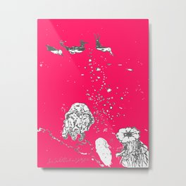 Two Tailed Duck and Jellyfish Bright Red Pink Metal Print