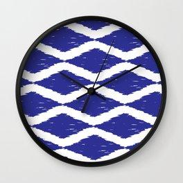 Cobalt and White Jumbo Scale Ikat Pattern Wall Clock