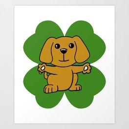 Dog On Four Leaf Clover- St. Patricks Day Funny Art Print