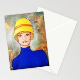 Lady in a yellow hat Stationery Cards