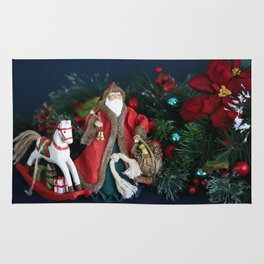 The Night Before Christmas. Santa Claus Arriving with Chistmas Gifts Rug