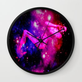 Galaxy Woman : Nude Art Fuchsia Pink Red Indigo Blue Wall Clock