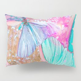 Turquoise butterflies on a pink background - lovely summer mood Pillow Sham