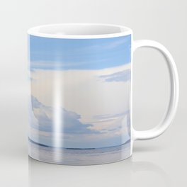 Blue Lakescape With White Clouds In The Blue Sky #decor #society6 Coffee Mug