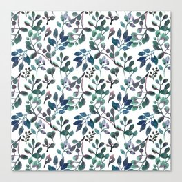 Jade and Succulent Watercolor Plant Pattern Canvas Print