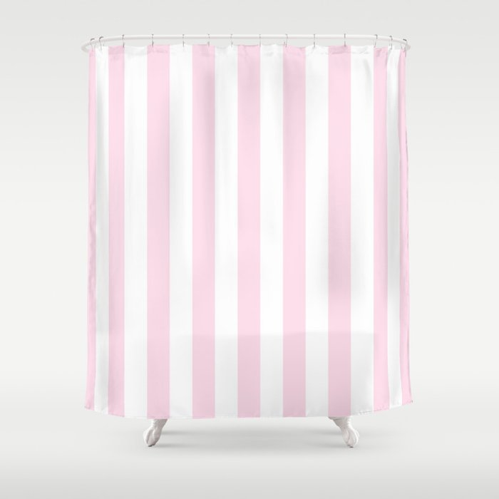 Simple Pink And White Stripes, Vertical Shower Curtain By