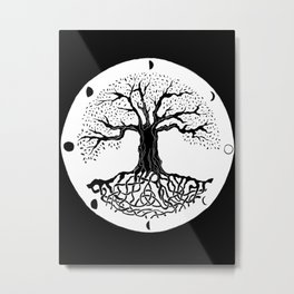 black and white tree of life with moon phases and celtic trinity knot III Metal Print