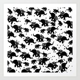 Abstract black white polka dots cute elephant Art Print