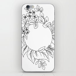 White Floral Circle iPhone Skin
