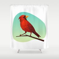 low poly Shower Curtains featuring Low-poly Red Bird by fortyfive