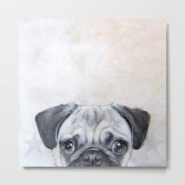 Pug with star, original hand painting design Metal Print