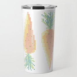 Double Carrot -- Stitchable Real Cross Stitch Pattern - Color Coded - Travel Mug