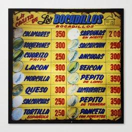 Bocadillos / Sandwiches Canvas Print