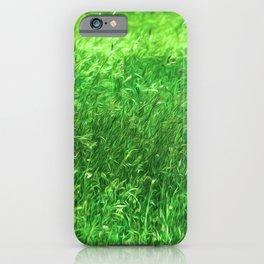 Hypnotizing green green grass field, relaxing landscape oil paint nature design iPhone Case