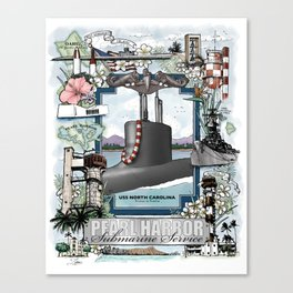 USS North Carolina - Pearl Harbor Submarine Service (Silver Dolphins) Canvas Print