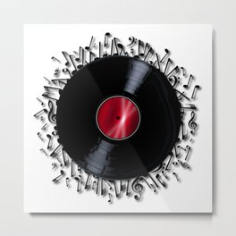 Musical Notes Record Metal Print