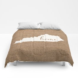 Kentucky is Home - White on Burlap Comforters
