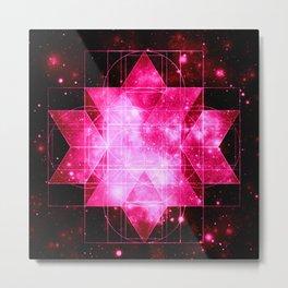 Magenta Galaxy Sacred Geometry Rhombic Hexecontahedron Metal Print