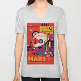 NASA Retro Space Travel Poster #9 Mars Unisex V-Neck