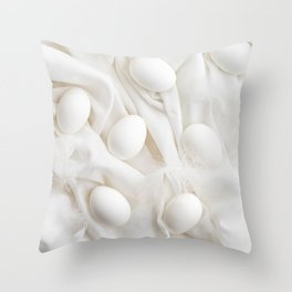 White eggs Throw Pillow