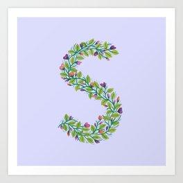 Leafy Letter S Art Print