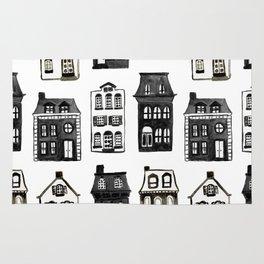 Mansard Mansions in Black + White Watercolor Rug
