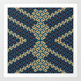 Squiggle Trails Most Awesome Yellow Red Blue and Black Art Print