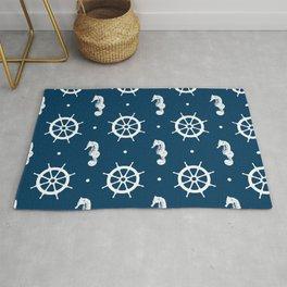 Seahorse and Ship Wheel Pattern Rug