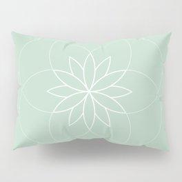 Minimalist Sacred Geometric Succulent Flower in Pastel Mint Color Pillow Sham
