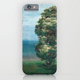 Flowering Chestnut Trees by the Sea landscape painting by Emilie Mediz Pelikan iPhone Case