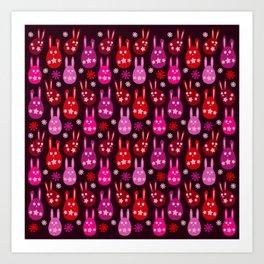 Easter Egg Bunny Pattern - Red Crimson Claret & Pink Art Print
