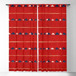 Triangles On Red Background Japanese Shima-Shima Pattern Blackout Curtain