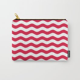 Wavy Stripes (Crimson/White) Carry-All Pouch